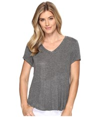 B Collection By Bobeau Adley V Neck High Low T Shirt Charcoal Grey Women's T Shirt Gray