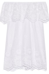 Miguelina Angelique Off The Shoulder Crocheted Cotton Mini Dress White