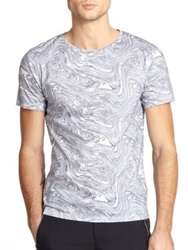 Plac Marble Print Cotton Tee Grey Marble