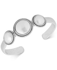 Lucky Brand Silver Tone Imitation Pearl Cuff Bracelet