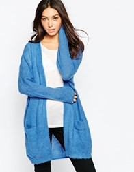 Selected Claudia Long Sleeve Knit Cardigan In Blue Strongblue