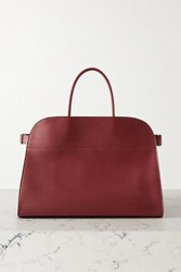 The Row Margaux 17 Buckled Leather Tote Burgundy
