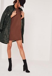 Missguided Petite Brown Scuba T Shirt Dress Chocolate