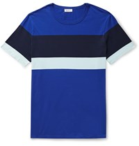 Schiesser Striped Cotton Jersey T Shirt Blue