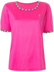 Yves Saint Laurent Vintage Logo Embroidered T Shirt Pink And Purple