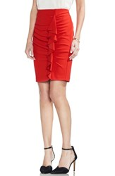 Vince Camuto Front Ruffle Pencil Skirt Spectrum Red