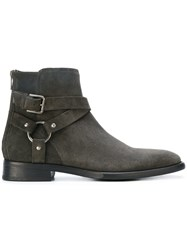 Dolce And Gabbana Buckled Ankle Boots Men Calf Leather Leather Calf Suede Rubber 42.5 Grey