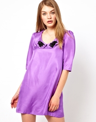 Lowie Silk Shift Dress With Embellished Collar Purple