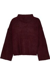 Line Cropped Ribbed Knit Sweater Burgundy