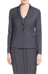 Women's Elie Tahari 'King' Contrast Trim One Button Jacket Black Multi