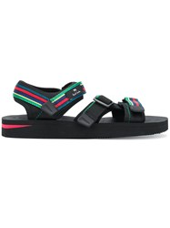 Paul Smith Ps By Striped Strappy Sandals Black