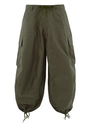 Needles Wide Legged Cotton Cargo Trousers Green