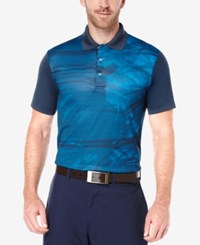 Pga Tour Men's Golf Performance Nature Print Polo Mykonos Blue