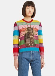 Gucci Embroidered Cat Lace Striped Sweater Black