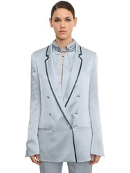 Haider Ackermann Double Breasted Viscose Blend Blazer Light Blue