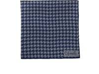 Cifonelli Houndstooth Silk Twill Pocket Square Navy