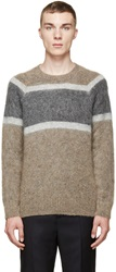Marc Jacobs Brown And Grey Mohair Hazy Stripe Sweater