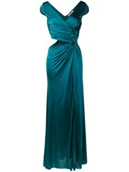 Roberto Cavalli Side Slit Maxi Dress Green