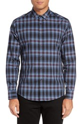 Vince Camuto Men's Trim Fit Print Sport Shirt Indigo Burgundy Exploded Plaid