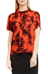 Vince Camuto Women's Shirred Mock Neck Blouse Vivid Flame Delicate Foliage