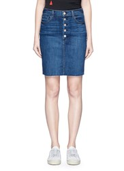 J Brand 'Roleen' Frayed Hem Stretch Denim Skirt Blue