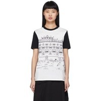 Lanvin White And Black Babar Edition Illustrated Hut T Shirt