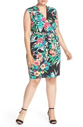 Ellen Tracy Plus Size Women's Print Jersey Faux Wrap Dress