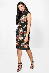 Boohoo High Neck Floral Peplum Midi Dress Multi