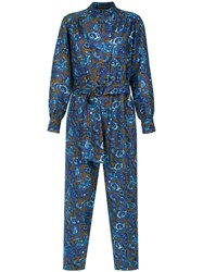 Andrea Marques Printed Jumpsuit Blue