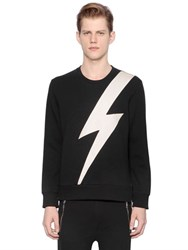 Neil Barrett Flash Faux Leather And Neoprene Sweatshirt