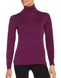 Lord And Taylor Merino Wool Turtleneck Sweater Dark Purple