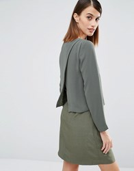 Selected Pica Dress With Cross Back Detail Khaki Thyme Green