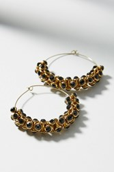 Anthropologie Sparkle Cuff Hoop Earrings Black