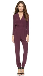 Twelfth St. By Cynthia Vincent Zip Front Jumpsuit Burgundy