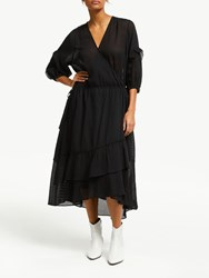 And Or Roxy Wrap Over Sheer Stripe Dress Black