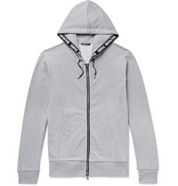Balmain Logo Jacquard Loopback Cotton Jersey Zip Up Hoodie Gray
