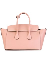 Bally Buckled Handles Tote Pink Purple