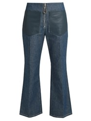 Edun High Rise Flared Leg Cropped Jeans Denim