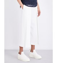 Rag And Bone Rowe High Rise Wide Leg Cropped Crepe Trousers White