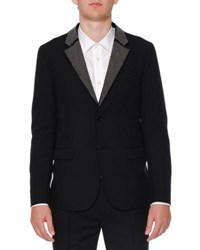 Alexander Mcqueen Studded Lapel Two Button Jacket Black