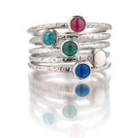 Frillybylily Silver Gemstone Stacking Ring With Hammered Texture