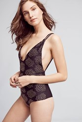Anthropologie Tori Praver Floral Plunge One Piece Black Motif