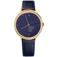 Mondaine Mh1.L2241.Ld Women's Helvetica Date Leather Strap Watch Navy