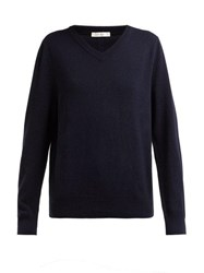 The Row Maley V Neck Cashmere Sweater Navy