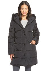 Petite Women's Gallery Pillow Hood Quilted Down And Feather Fill Stadium Coat Black