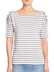 See By Chloe Striped Boatneck Cotton Tee Stone Wash