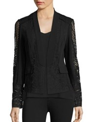 Kobi Halperin Holly Lace Silk Jacket Ivory Black