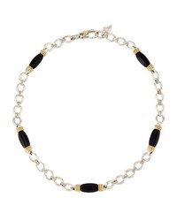 Lagos Caviar Rouche Black Agate Station Necklace Multi