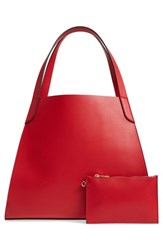 Leith Trapezoid Faux Leather Tote Red