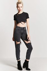 Forever 21 O Ring Cutout Jeans Black